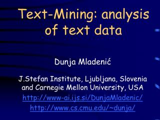 Text-Mining: analysis of text data