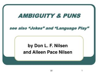 "AMBIGUITY & PUNS see also ""Jokes"" and ""Language Play"""