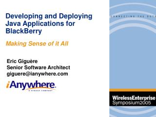 Developing and Deploying Java Applications for BlackBerry