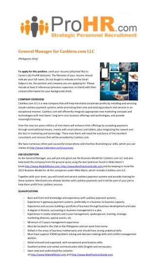 General Manager for Cashless.com LLC
