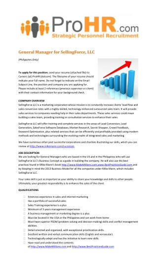 Hiring a General Manager for SellingForce, LLC