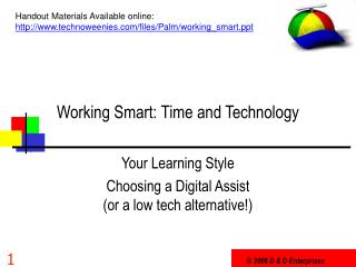 Working Smart: Time and Technology