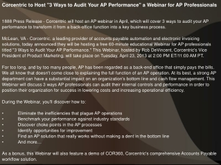 "Corcentric to Host ""3 Ways to Audit Your AP Performance"" a W"