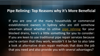 Pipe Relining - Top Reasons why it's More Beneficial