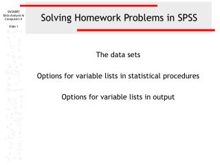 Solving Homework Problems in SPSS
