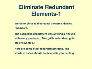 Eliminate Redundant Elements-1