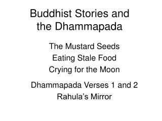 Buddhist Stories and the Dhammapada