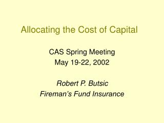 Allocating the Cost of Capital