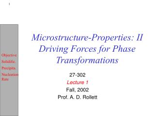 Microstructure-Properties: II Driving Forces for Phase Transformations