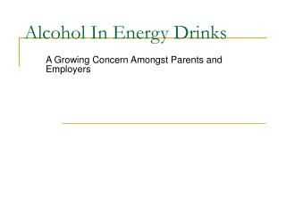 Alcohol In Energy Drinks