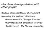 Bowlby s ethological theory: built-in behaviours: attachment behaviours  1 signal behaviour: bring mother to infant  2 a