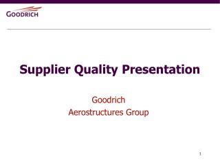 Supplier Quality Presentation