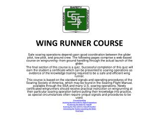 WING RUNNER COURSE