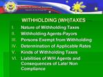 WITHHOLDING WHTAXES