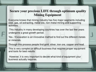 Mining Equipment Manufacturers, Mining Suppliers