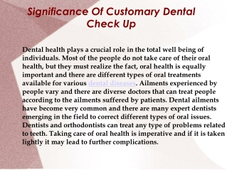 Significance Of Customary Dental Check Up