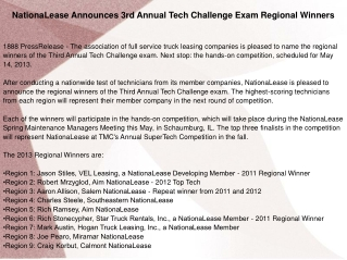 NationaLease Announces 3rd Annual Tech Challenge Exam Region