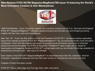 New Release EYES IN(TM) Magazine/MagBook(TM) Issue
