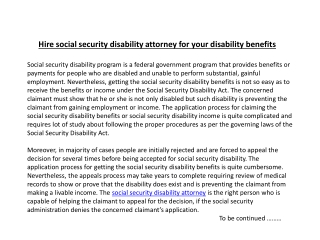 Hire social security disability attorney for your disability