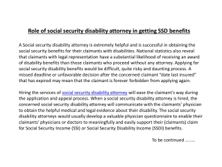 Role of social security disability attorney