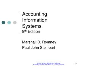 Accounting  Information  Systems 9 th  Edition