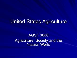 United States Agriculture