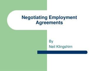 Negotiating Employment Agreements