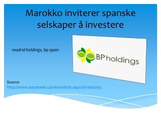 Marokko inviterer spanske selskaper å investere