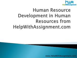 Human Resource Development in Human Resources from HWA