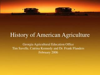 History of American Agriculture
