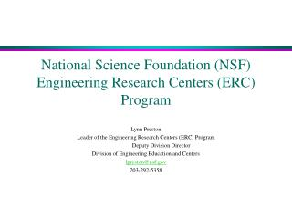 National Science Foundation (NSF) Engineering Research Centers (ERC) Program
