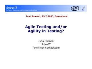 Agile Testing and/or Agility in Testing?