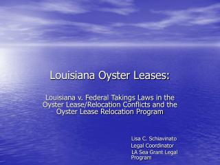 Louisiana Oyster Leases: