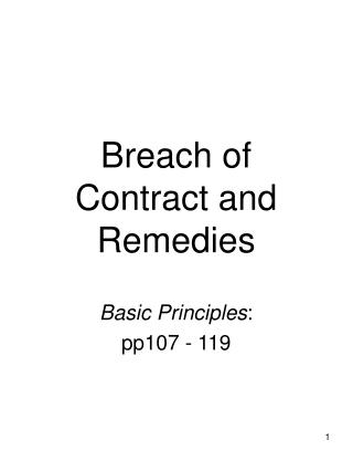 Breach of Contract and Remedies