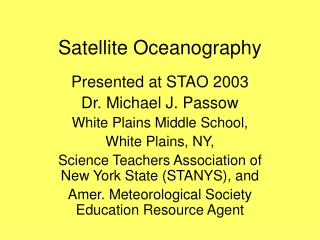 Satellite Oceanography