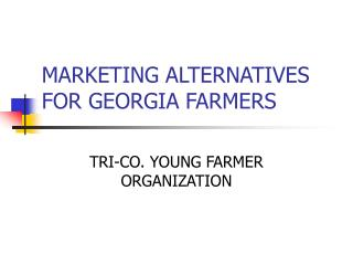 MARKETING ALTERNATIVES FOR GEORGIA FARMERS