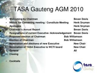 TASA Gauteng AGM 2010