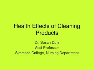 Health Effects of Cleaning Products