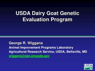 USDA Dairy Goat Genetic Evaluation Program