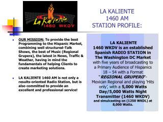 LA KALIENTE 1460 AM STATION PROFILE: