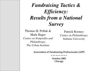 Fundraising Tactics & Efficiency:  Results from a National Survey