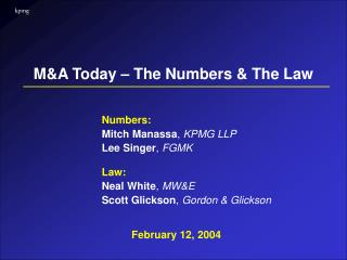 M&A Today – The Numbers & The Law