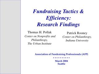 Fundraising Tactics & Efficiency:  Research Findings
