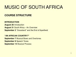 MUSIC OF SOUTH AFRICA