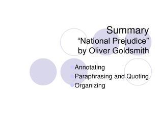 """Summary """"National Prejudice"""" by Oliver Goldsmith"""