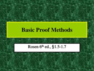 Basic Proof Methods