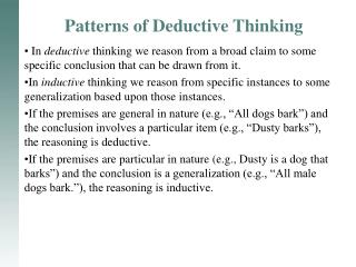 Patterns of Deductive Thinking