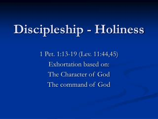 Discipleship - Holiness