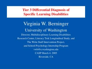 Tier 3 Differential Diagnosis of Specific Learning Disabilities