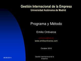 Gestión Internacional de la Empresa Universidad Autónoma de Madrid